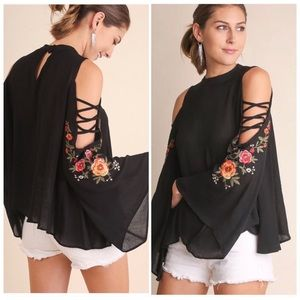 Embroidered Cold Shoulder Blouse